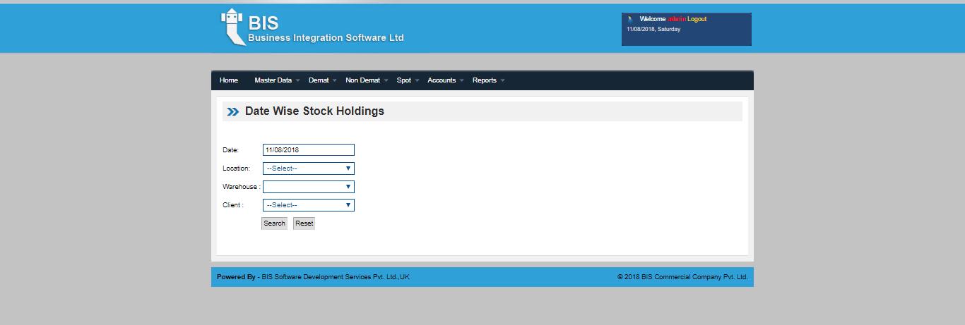 Date wise stock screen