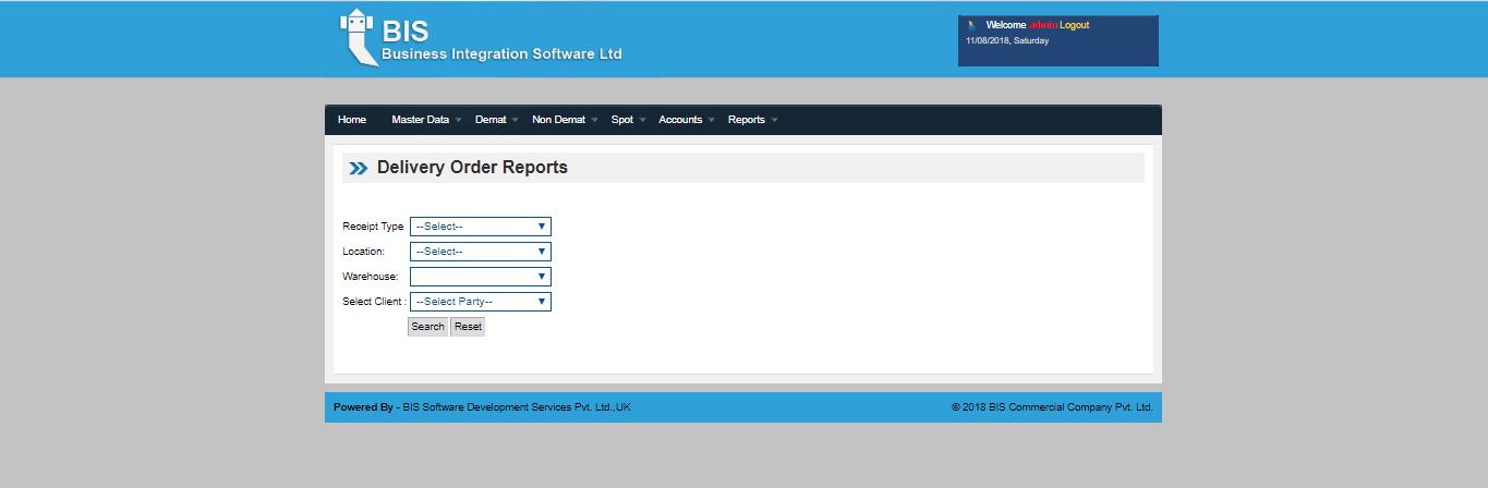 WDMS Delivery order Report screen