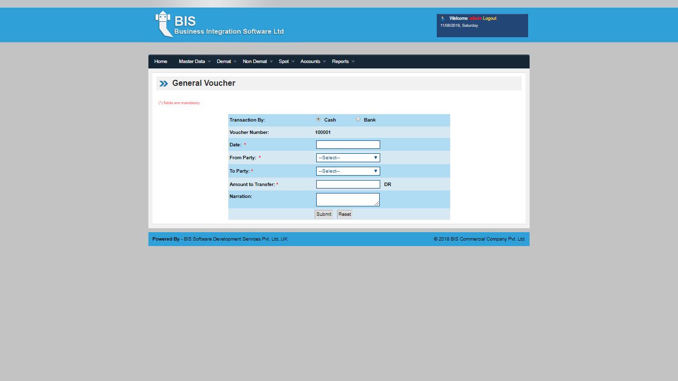 WDMS Screen General Voucher Screen