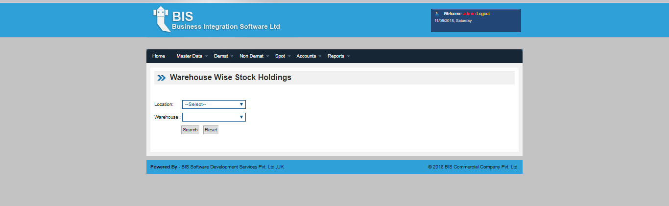 Warehouse wise stock screen