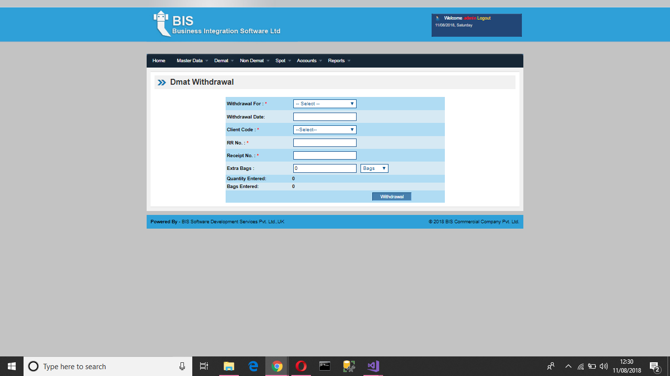 WDMS Withdrawal Screen