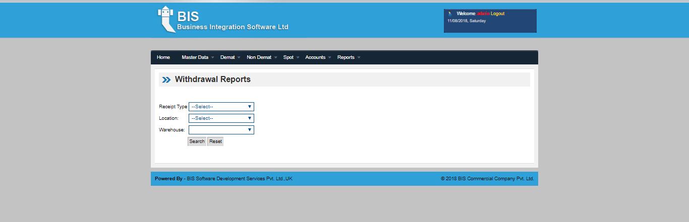 WDMS Withdrawal report screen